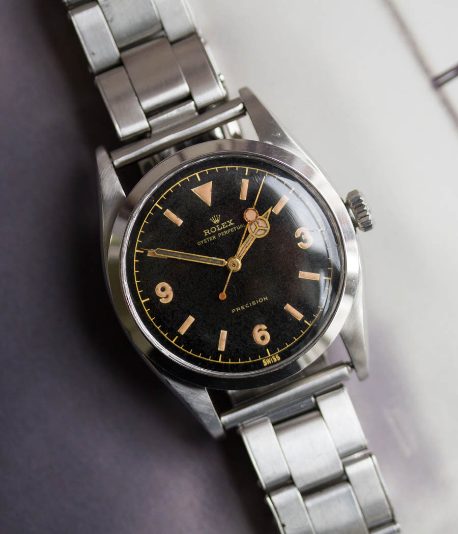 rolex explorer first series ref 6150 gilt dial 1953